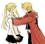 1boy 1girl bangs black_shirt blonde_hair blue_eyes blush braid coat earrings edward_elric eye_contact eyebrows_visible_through_hair fingernails fullmetal_alchemist hands_on_another's_shoulders jewelry long_hair looking_at_another nervous pants ponytail red_coat shirt simple_background skirt sweatdrop tsukuda0310 white_background white_shirt winry_rockbell yellow_eyes