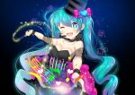 1girl ;d bare_shoulders beamed_quavers black_dress black_hat blue_eyes blue_hair blush bow breasts collarbone commentary_request crotchet dress hair_bow hat hatsune_miku head_tilt heart holding holding_hat holding_wand long_hair musical_note one_eye_closed open_mouth outstretched_arm pink_bow quaver small_breasts smile solo sparkle star suzuki_moeko top_hat twintails upper_teeth very_long_hair vocaloid wand