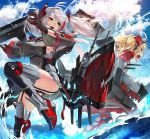 2girls :d admiral_hipper_(azur_lane) antenna_hair azur_lane bangs black_footwear black_gloves black_legwear blonde_hair blue_sky blush boots breasts brown_eyes cannon clouds cloudy_sky commentary_request day dress eyebrows_visible_through_hair garter_straps gloves green_eyes grey_dress highlights highres iron_cross large_breasts long_hair long_sleeves multicolored_hair multiple_girls ocean open_mouth outdoors prinz_eugen_(azur_lane) red_footwear redhead sideboob silver_hair sky smile standing standing_on_one_leg streaked_hair sukocchi thigh-highs thigh_boots turret twintails two_side_up upper_teeth very_long_hair water wide_sleeves