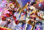 2girls alternate_costume artist_request bangs bare_shoulders beamed_quavers black_hair boots breasts brown_hair church conductor dress earrings flat_chest flower frills grin hair_flower hair_ornament hat holding indoors jewelry koizumi_hanayo long_sleeves looking_at_viewer love_live! love_live!_school_idol_festival love_live!_school_idol_project medium_breasts multiple_girls musical_note musical_note_hair_ornament official_art one_eye_closed open_mouth petals pink_flower pink_rose red_dress red_flower red_rose rose smile stained_glass thigh-highs thigh_boots top_hat white_flower white_rose window wrist_cuffs yazawa_nico yellow_dress