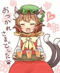 1girl :3 :d ^_^ animal_ears bangs bow bowtie brown_hair cat_ears cat_tail chen closed_eyes cup dress drinking_glass earrings eyebrows_visible_through_hair fang green_hat hat heart holding holding_tray ibaraki_natou jewelry long_sleeves mob_cap multiple_tails nekomata open_mouth red_dress short_hair single_earring smile solo tail touhou tray two_tails yellow_neckwear