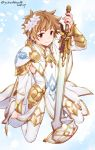 1boy akari_seisuke brown_eyes brown_hair cosplay flower gran_(granblue_fantasy) granblue_fantasy hair_flower hair_ornament highres knights_of_glory male_focus smile solo sword the_glory the_glory_(cosplay) weapon white_armor