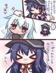>_< ... /\/\/\ 2girls akatsuki_(kantai_collection) bangs black_cat black_hat black_legwear black_skirt blue_eyes blush blush_stickers brown_footwear cat closed_eyes closed_mouth comic commentary_request disembodied_limb eyebrows_visible_through_hair flying_sweatdrops hair_between_eyes hat hat_removed headwear_removed hibiki_(kantai_collection) holding holding_hat kantai_collection komakoma_(magicaltale) long_sleeves multiple_girls neckerchief nose_blush pantyhose petting pleated_skirt purple_hair red_neckwear school_uniform serafuku shirt silver_hair skirt spoken_ellipsis standing tears translation_request violet_eyes wavy_mouth white_shirt