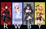 4girls ahoge alternate_breast_size arms_behind_back black_bow black_dress black_hair black_legwear blake_belladonna blonde_hair blue_dress blue_eyes boots bow breasts breasts_apart brown_legwear cape capelet cleavage collarbone contrapposto copyright_name dress eyebrows_visible_through_hair floating_hair frilled_boots frills garter_straps grey_background grey_eyes hair_bow head_tilt high_ponytail highres jewelry large_breasts long_hair looking_at_viewer medium_breasts midriff multiple_girls necklace only_haruka pantyhose parted_lips red_cape redhead ruby_rose rwby short_dress short_hair shorts silver_hair simple_background standing stomach thigh-highs very_long_hair violet_eyes weiss_schnee white_shorts yang_xiao_long yellow_eyes