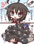 2girls :d ahoge bangs black_gloves black_hair black_serafuku black_shirt blue_eyes blue_hair blue_skirt blush chibi comic commentary_request eyebrows_visible_through_hair fairy_(kantai_collection) fingerless_gloves flying_sweatdrops gloves hair_between_eyes hair_flaps hair_ornament kantai_collection komakoma_(magicaltale) long_hair lying multiple_girls on_stomach open_mouth pleated_skirt puffy_short_sleeves puffy_sleeves red_neckwear school_uniform serafuku shigure_(kantai_collection) shirt short_sleeves side_ponytail sidelocks skirt smile sparkle spoken_object torpedo translation_request white_shirt