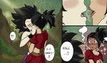2girls bangs black_hair blush caulifla dragon_ball dragon_ball_super earrings french_kiss heart hoop_earrings jewelry kale_(dragon_ball) kiss lipstick makeup midriff multiple_girls outdoors panels ponytail saliva saliva_trail shocked_eyes skirt speech_bubble spiky_hair surprised tan vambraces wristband yuri