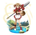 1girl :d animal_ears apron boots bow brown_gloves brown_hair dog_ears dog_tail faux_figurine frilled_apron frills full_body fur_trim gloves hair_between_eyes hair_ribbon holding holding_weapon long_hair miniskirt open_mouth pleated_skirt polearm red_bow red_capelet red_eyes red_footwear red_ribbon red_skirt ribbon silica simple_background skirt smile solo spear standing striped striped_bow striped_ribbon sword_art_online tail twintails weapon white_apron white_background