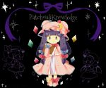 3girls black_background blue_bow blush_stickers book bow bowtie character_name crescent crescent_hair_ornament crystal dress feet_together flandre_scarlet hair_bow hair_ornament hat hat_bow holding holding_book long_hair mob_cap moyo_(amaniwa) multiple_girls patchouli_knowledge purple_hair purple_ribbon red_bow remilia_scarlet ribbon shoe_bow shoes smile solo_focus sparkle striped striped_dress touhou violet_eyes wings yellow_bow