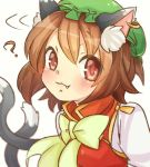 1girl :3 ? animal_ears blush brown_eyes brown_hair cat_ears cat_tail chen closed_mouth commentary fang fang_out green_hat hat ibaraki_natou jewelry looking_at_viewer mob_cap multiple_tails nekomata short_hair simple_background single_earring solo tail touhou two_tails upper_body white_background