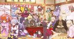 aora assassin_(fate/stay_night) bamboo chacha_(fate/grand_order) controller cup daruma_doll eating emiya_shirou fate/grand_order fate_(series) fou_(fate/grand_order) fujimaru_ritsuka_(female) fuuma_kotarou_(fate/grand_order) game_console hanafuda headphones highres houzouin_inshun_(fate/grand_order) ibaraki_douji_(fate/grand_order) kagami_mochi katana katou_danzou_(fate/grand_order) kite kotatsu limited/zero_over minamoto_no_raikou_(fate/grand_order) miyamoto_musashi_(fate/grand_order) mochizuki_chiyome_(fate/grand_order) oda_nobunaga_(swimsuit_berserker)_(fate) okita_souji_(fate) oni_horns playstation_4 ponytail sakata_kintoki_(fate/grand_order) sakazuki shuten_douji_(fate/grand_order) sword table tomoe_gozen_(fate/grand_order) tray umbrella weapon yagyuu_munenori_(fate/grand_order)