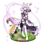 1girl animal_ears boots breasts cleavage detached_sleeves faux_figurine fox_ears fox_tail full_body hair_between_eyes holding holding_weapon long_hair looking_at_viewer medium_breasts midriff mole mole_on_breast navel poleaxe purple_hair simple_background smile solo standing stomach strea sword_art_online tail thigh-highs thigh_boots violet_eyes weapon white_background white_footwear wrist_cuffs