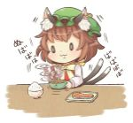 0_0 1girl :3 animal_ears cat_ears cat_tail chen chopsticks food green_hat hat ibaraki_natou jewelry long_sleeves mob_cap motion_blur multiple_tails nattou nekomata rice_bowl single_earring solo stirring tail touhou two_tails