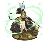 1girl animal_ears aqua_eyes aqua_hair black_gloves black_ribbon black_shorts breasts cat_ears cat_tail choker detached_sleeves faux_figurine full_body gloves gun hair_between_eyes hair_ribbon head_tilt holding holding_gun holding_weapon looking_at_viewer medium_breasts open_mouth paw_gloves paws ribbon rifle shinon_(sao) shoes short_hair_with_long_locks short_shorts shorts sidelocks simple_background solo standing strapless sword_art_online tail under_boob weapon white_background