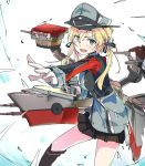 1girl anchor_hair_ornament aqua_eyes black_ribbon black_skirt blonde_hair cannon foreshortening gloves hair_ornament hat ixy kantai_collection low_twintails machinery microskirt military military_hat military_uniform open_mouth outstretched_arm peaked_cap pleated_skirt prinz_eugen_(kantai_collection) ribbon rigging skirt solo twintails uniform white_background white_gloves
