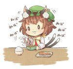 0_0 1girl :3 animal_ears brown_hair cat_ears cat_tail chen chopsticks food green_hat hat ibaraki_natou jewelry long_sleeves mob_cap multiple_tails nattou nekomata rice_bowl short_hair single_earring solo stirring tail touhou two_tails