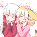 2girls ;> alternate_costume animal_ears blonde_hair brown_eyes brown_hair commentary covering_mouth extra_ears feathered_wings fennec_(kemono_friends) fox_ears fox_tail head_wings japanese_crested_ibis_(kemono_friends) kemono_friends long_hair mahe_(hammerdskd) multicolored_hair multiple_girls one_eye_closed redhead sidelocks simple_background smile tail upper_body whispering white_background white_hair wings yellow_eyes