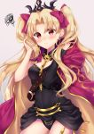 1girl asymmetrical_sleeves bangs beige_background between_breasts black_cape black_dress black_leotard blonde_hair buckle cape detached_collar dress earrings ereshkigal_(fate/grand_order) fate/grand_order fate_(series) fur-trimmed_cape fur_trim hand_in_hair infinity jewelry leotard long_hair multicolored multicolored_cape multicolored_clothes nazuna_shizuku necklace parted_bangs red_cape red_eyes red_ribbon ribbon single_sleeve skull spine tiara twintails two_side_up