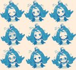 1girl :< :3 acerola_(pokemon) bittercocoa blush closed_eyes crying crying_with_eyes_open elite_four empty_eyes expressions flipped_hair hair_ornament monochrome open_mouth pokemon pokemon_(game) pokemon_sm shaded_face smile tears trial_captain
