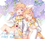 1boy 1girl artist_request blonde_hair blue_eyes blush brother_and_sister cat closed_eyes floral_background flower hair_flower hair_ornament hand_holding hand_on_own_stomach kagamine_len kagamine_rin kneehighs long_sleeves nail_polish number open_mouth pleated_skirt sailor_collar shirt short_hair shorts siblings signature sitting skirt sleeping suspenders twins vocaloid white_legwear white_shirt yawning yellow_nails yellow_shorts yellow_skirt