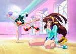 90s antenna_hair aqua_eyes aqua_hair balancing ball barefoot battle_athletes brown_eyes brown_hair floating_hair foot_hold gymnastics_ribbon hairband hand_on_own_chin holding hoop hula_hoop indoors kanzaki_akari leg_up leotard long_hair long_sleeves low-tied_long_hair official_art one_eye_closed rimless_eyewear round_eyewear sitting smile standing wariza wong_lio-pha