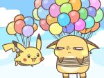 :3 annoyed balloon blue_sky cafe_(chuu_no_ouchi) clouds day flying looking_at_another no_humans pikachu pokemon raichu sky