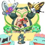 1boy 1girl :d bandanna beautifly bike_shorts black_hair blue_eyes blush brown_eyes brown_hair bulbasaur butterfree chibi couple eyeglass fingerless_gloves flower full_body gloves hair_flower hair_ornament haruka_(pokemon) hat heart highres kairi_(ayuara) munchlax open_mouth pokemon pokemon_(anime) satoshi_(pokemon) simple_background smile snorlax squirtle