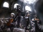 4girls agent_(girls_frontline) alchemist_(girls_frontline) arms_up baton_(instrument) black_dress black_gloves black_hair black_legwear bow_(instrument) breasts brown_eyes cello cishi_nianshao cleavage closed_eyes conductor curly_hair detached_sleeves double_bun dress eyepatch fingerless_gloves gas_mask girls_frontline gloves green_eyes hair_ornament hairclip highres holding hunter_(girls_frontline) instrument large_breasts long_hair long_sleeves maid maid_headdress medium_breasts midriff multiple_girls music playing_instrument rubble sangvis_ferri sangvis_ferri_android_(girls_frontline) scarecrow_(girls_frontline) short_sleeves silver_hair sitting standing straight_hair striped thigh-highs twintails violin window yellow_eyes