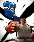 2boys arm_cannon belt black_hair capcom company_connection crossover dougi fighting fighting_stance fingerless_gloves gloves green_eyes headband helmet highres jumping karate_gi multiple_boys open_mouth rockman rockman_(character) rockman_(classic) ryuu_(street_fighter) sleeveless tonami_kanji weapon