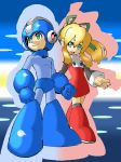 1boy 1girl absurdres android blonde_hair blue_gloves capcom commentary_request dress eyebrows_visible_through_hair full_body gloves green_eyes hair_between_eyes hair_ornament hair_ribbon high_ponytail highres long_hair looking_to_the_side open_mouth ponytail ribbon rockman rockman_(character) rockman_(classic) roll sidelocks smile teeth tonami_kanji