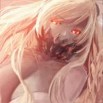 1girl bangs bare_shoulders breasts cleavage covered_mouth dress eyebrows_visible_through_hair face_mask hair_between_eyes horns kantai_collection large_breasts long_hair looking_at_viewer mask midway_hime moni pale_skin portrait red_eyes shinkaisei-kan sidelocks solo veins very_long_hair white_dress white_hair