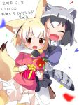 2girls :d ^_^ animal_ears arm_around_neck black_gloves black_hair black_neckwear black_skirt blonde_hair blurry blush bow bowtie box brown_eyes closed_eyes common_raccoon_(kemono_friends) confetti dated depth_of_field eyebrows_visible_through_hair fang fennec_(kemono_friends) fox_ears fox_tail fur_collar gift gift_box gloves grey_hair happy_birthday highres holding holding_gift hug hug_from_behind kemono_friends looking_at_viewer makuran miniskirt multicolored_hair multiple_girls open_mouth pantyhose party_popper pink_sweater pleated_skirt raccoon_ears raccoon_tail short_sleeves simple_background skirt smile sweater tail thigh-highs white_background white_gloves white_hair white_legwear yellow_legwear yellow_neckwear zettai_ryouiki