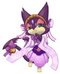 bell caesar_(4chan) clothed_pokemon gem green_eyes headband japanese_clothes jingle_bell looking_at_viewer pink_skirt pokemon purrloin skirt solo standing wide_sleeves