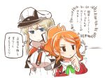 2girls aquila_(kantai_collection) blonde_hair blue_eyes capelet commentary_request graf_zeppelin_(kantai_collection) hair_between_eyes hat jacket kantai_collection long_hair long_sleeves military military_uniform multiple_girls necktie orange_hair peaked_cap rebecca_(keinelove) red_jacket short_hair sidelocks simple_background translation_request twintails uniform white_background