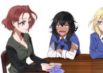 3girls andou_(girls_und_panzer) angry azumi_(girls_und_panzer) bangs bc_freedom_school_uniform black_hair black_jacket black_vest blonde_hair blue_eyes blue_neckwear blue_sweater brown_eyes brown_hair chair closed_mouth commentary crossed_arms cup dark_skin diagonal_stripes dress_shirt frown girls_und_panzer jacket long_sleeves looking_at_another medium_hair messy_hair military military_uniform multiple_girls necktie no_undershirt open_mouth oshida_(girls_und_panzer) parted_bangs red_neckwear saucer school_connection school_uniform selection_university_military_uniform shirt short_hair shutou_mq simple_background sitting smile striped_neckwear sweater teacup uniform vest white_background white_shirt wing_collar
