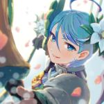1girl ahoge armor bangs blue_eyes blue_hair blurry blush bow character_request copyright_request depth_of_field eyebrows eyelashes facing_away flower gradient gradient_background hair_between_eyes hair_flower hair_ornament holding leaf orange_bow petals reiesu_(reis) short_hair signature smile solo upper_body v-shaped_eyebrows