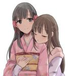 2girls :t azuko_(ampenm) blush braid brown_eyes brown_hair closed_eyes eyebrows_visible_through_hair floral_print flower hair_flower hair_ornament hand_holding hug hug_from_behind idolmaster idolmaster_cinderella_girls japanese_clothes kimono kobayakawa_sae long_hair long_sleeves mizumoto_yukari multiple_girls obi pink_kimono pout print_kimono sash simple_background smile straight_hair white_background
