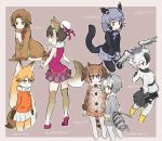 6+girls animal_ears binturong_(kemono_friends) binturong_ears binturong_tail blonde_hair brown_hair character_request commentary_request eurasian_eagle_owl_(kemono_friends) extra_ears ezo_red_fox_(kemono_friends) feathered_wings fox_ears fox_tail grey_hair head_wings highres kemono_friends long_hair multicolored_hair multiple_girls northern_white-faced_owl_(kemono_friends) short_hair sloth_(kemono_friends) tail tatsuno_newo very_long_hair wings