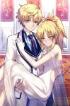 1boy 1girl @_@ ahoge bangs bare_shoulders bead_necklace beads blonde_hair blue_neckwear blue_shirt blush braid breasts buttons carrying closed_mouth collarbone collared_shirt commentary dress earrings embarrassed eyebrows_visible_through_hair fate/apocrypha fate/grand_order fate_(series) fingernails formal french_braid gloves green_eyes hair_between_eyes hair_ornament hair_scrunchie hand_on_another's_chest high_ponytail highres jacket jewelry long_dress long_hair looking_at_viewer looking_away looking_down mordred_(fate)_(all) necklace necktie nose_blush pocket ponytail princess_carry red_scrunchie saber_(fate/prototype) scrunchie see-through shiguru shiny shiny_hair shirt sidelocks sleeveless sleeveless_dress small_breasts smile standing striped striped_shirt suit tie_clip white_dress white_gloves white_jacket white_shirt white_suit