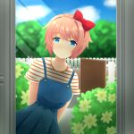 1girl absurdres arms_behind_back bangs blue_eyes blue_overalls blue_skirt bow bush buttons casual clouds collarbone doki_doki_literature_club doorway eyebrows_visible_through_hair fence flower gate hair_bow head_tilt highres light_rays littlewing1st looking_at_viewer orange_shirt outdoors overalls peeking_out picket_fence pink_hair pleated_skirt red_bow red_headwear sayori_(doki_doki_literature_club) shiny shiny_hair shirt short_hair short_sleeves skirt sky smile solo standing striped striped_shirt sunlight tree white_shirt wooden_fence yellow_flower