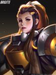 1girl armor brigitte_(overwatch) dark_background freckles liang_xing light_particles looking_at_viewer over_shoulder overwatch parted_lips ponytail realistic solo upper_body weapon weapon_over_shoulder
