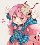 1girl arms_up baku_ph bangs blush bow bowtie eyebrows_visible_through_hair grey_background hata_no_kokoro highres long_hair long_sleeves looking_at_viewer mask mask_on_head open_mouth outstretched_arms pink_eyes pink_hair pink_neckwear pink_skirt plaid plaid_shirt shirt skirt solo star touhou upper_body very_long_hair