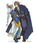 1boy 1girl armor armored_dress artist_request breasts cloak dress glasses gloves helmet lenneth_valkyrie lezard_valeth long_hair short_hair valkyrie valkyrie_profile winged_helmet