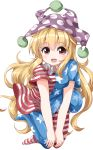 1girl :d american_flag_dress american_flag_legwear blonde_hair blush breasts clownpiece commentary_request eyebrows_visible_through_hair frilled_shirt_collar frills full_body hair_between_eyes hat highres horizontal-striped_legwear horizontal_stripes jester_cap leaning_forward long_hair looking_at_viewer medium_breasts neck_ruff no_shoes open_mouth pantyhose pink_eyes polka_dot polka_dot_hat print_legwear purple_hat ruu_(tksymkw) short_sleeves simple_background smile solo star star_print striped striped_legwear touhou v_arms very_long_hair white_background