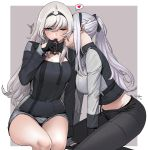 2girls ak-12_(girls_frontline) an-94_(girls_frontline) arm_support bangs bare_legs black_gloves black_pants black_ribbon blush bow braid breasts cleavage cleavage_cutout cowboy_shot eyebrows_visible_through_hair finger_to_mouth from_side girls_frontline gloves green_eyes hair_between_eyes hair_bow hairband heart imminent_kiss legs_together long_hair long_sleeves looking_at_another midriff multiple_girls navel one_eye_closed open_mouth outside_border pants ponytail revision ribbon shorts side_braid sidelocks signature sungwon sweat sweatdrop white_hair yuri zipper
