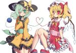 2girls beni_kurage black_footwear blonde_hair blush bow commentary_request finger_to_mouth flandre_scarlet frills green_eyes green_hair green_sash hair_bow hat hat_bow heart heart_of_string highres komeiji_koishi long_sleeves looking_at_viewer mary_janes mob_cap multiple_girls one_eye_closed petticoat pink_sash puffy_short_sleeves puffy_sleeves red_bow red_eyes red_footwear sailor_collar shirt shoes short_hair short_sleeves side_ponytail simple_background sitting socks third_eye touhou white_background white_legwear wide_sleeves wrist_cuffs yellow_bow yellow_neckwear yellow_shirt