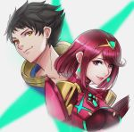 1boy 1girl artist_request black_hair bodysuit brown_hair gloves hair_ornament highres homura_(xenoblade_2) looking_at_viewer nintendo red_eyes redhead rex_(xenoblade_2) short_hair simple_background smile xenoblade xenoblade_2 yellow_eyes