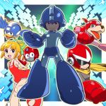 1girl 2boys android bangs beak beat_(rockman) blonde_hair blue_gloves blues_(rockman) blunt_bangs capcom commentary_request dress gloves green_eyes hair_ribbon highres multiple_boys one_leg_raised open_mouth red_dress red_gloves ribbon robot_animal rockman rockman_(character) rockman_(classic) roll rush_(rockman) scarf sidelocks smile teeth tonami_kanji