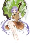 1girl bare_legs barefoot biwa_lute dress flower full_body hair_flower hair_ornament instrument long_hair long_sleeves lute_(instrument) music petals playing_instrument purple_hair seeker smile solo touhou tsukumo_benben twintails very_long_hair violet_eyes