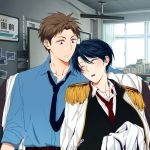 1boy 1girl artist_name black_hair black_neckwear blue_shirt book brown_eyes brown_hair epaulettes gekkan_shoujo_nozaki-kun hetero hori_masayuki indoors kashima_yuu necktie open_mouth photo_(object) red_neckwear shirt sleeping upper_body watermark web_address window yakumo-saito