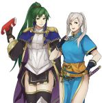 2girls armor breasts cape cleavage cosplay female_my_unit_(fire_emblem:_kakusei) fire_emblem fire_emblem:_kakusei fire_emblem:_rekka_no_ken fire_emblem_heroes gloves green_hair kamu_(kamuuei) long_hair lyndis_(fire_emblem) lyndis_(fire_emblem)_(cosplay) mamkute multiple_girls my_unit_(fire_emblem:_kakusei) ponytail robe smile thighs twintails very_long_hair white_background white_hair